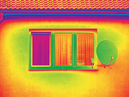 Traditional concrete building in amazing thermography colors. Thermography scan.