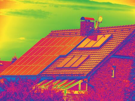 Thermal insulation from family house with  photovoltaic solar panels on a roof