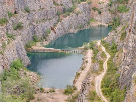 Velka Amerika is abandoned dolomite quarry for cement production. Czech Republic, Europe.