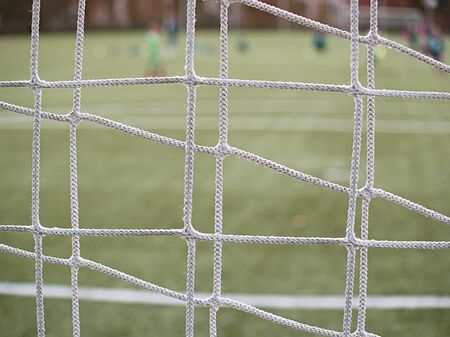 Soccer net and field on bright green artificial turf covered with autumna fallen leaves
