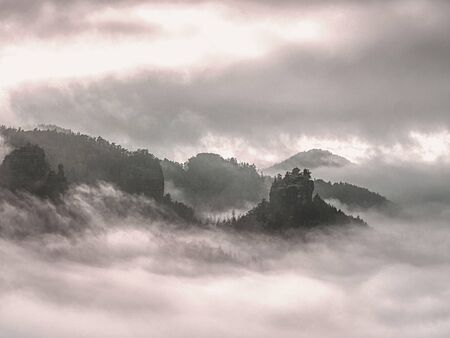 Cloudy hilly landscape. View over heavy cloud into rocky gulch full with deep forest. Sun hidden in heavy clouds.
