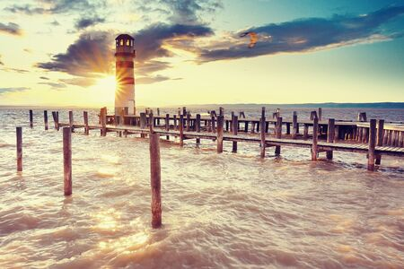Autumn evening at lake Neusiedler See at the Austrian border and the villages Rust and Podersdorf am See Banco de Imagens