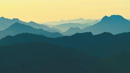 Autumn mountain landscape, foggy morning in the Austria Alps, Europe.