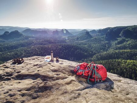 Picnic in mountains. Freedom concept. Healthy meal ready for picnic in nature.