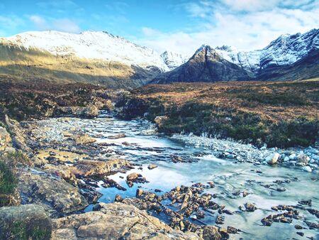 Fiume Coe, Glencoe Mountain, Scotland, Regno Unito, Archivio Fotografico