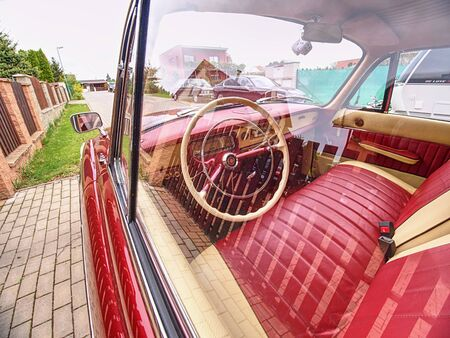 Unique president car Tatra 2-603, rearview Mirror, front door and steering wheel .. 26th of April 2019, Prague Czech Republic.