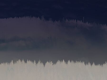 sun light through fog and clouds above the forest. trees on the hill viewed from below. magical nature.  Abstract filter. Stock fotó
