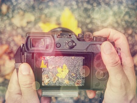 Digital camera on vintage autumn leaves abstract background..  Abstract filter. Stockfoto