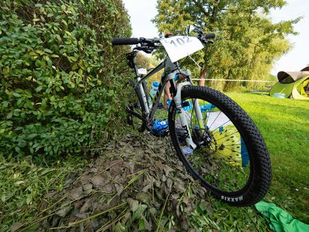 MTB with number plate ready in depot. Amateur SAMUEL XC triatlon Radvanec, Czech Republic. 23th of August 2019
