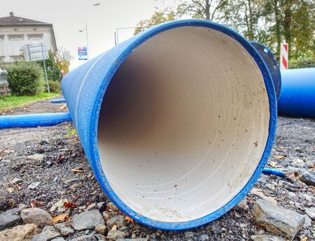 HDPE water pipe, large diameter, prepared for using under city pavement. Stok Fotoğraf