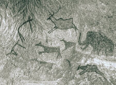 Pictures in cave. Rock paintings ocher paint. Hunting of an ancient man. Primitive hunter, caveman.  Dashed pencil sketch effect.