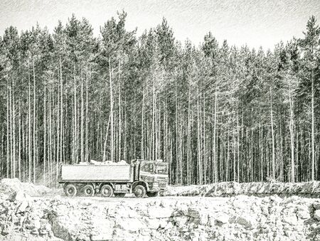 Open pit mine industry, big mining truck for open glass sand mine. Dashed pencil sketch effect.