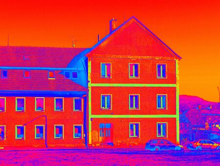 Warmth waste. Loss at the House With Infrared Thermal Camera or scaber. Infra or thermography photo