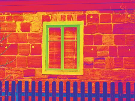 House window in thermography measurement scan. Traditional construction of flathouse with old style windows.. Infra or thermography photo Stock Photo