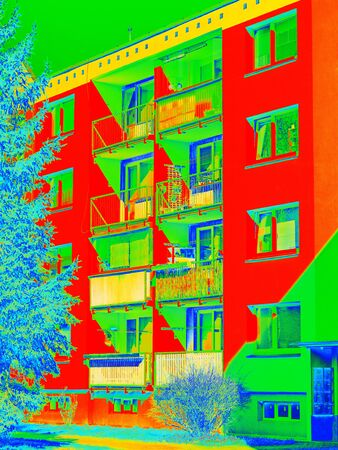 Flat house in cold surrounding scan. Thermal color spectre scale. Infra or thermography photo Stock Photo