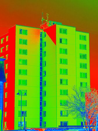 Infrared thermovision scan showing lack of thermal insulation. Infra or thermography photo Stock Photo