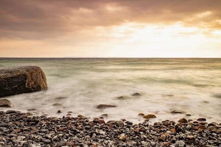 Stony coast of Cape Arkona promontory. North land peak of Ruegen island, Germany Stock fotó