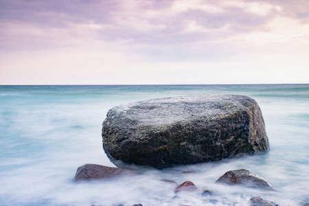 Boulders and rocks on the beach bellow Kap Arkona lighthouse. The popular touristic beach trail to Vitt.