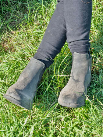 Woman horse rider sit with crossed legs in horse paddock boots and long tights. Horse farm and equestrian sports events Stockfoto