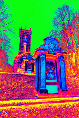 Village chapel and church on he hill peak, calvary. Gamma radiation spectrum in simulator.