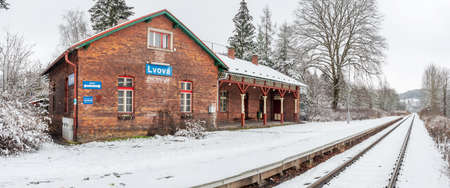 Lviv, Czechia. 10th ov January 2021. Historic single-track train station covered with fresh snow during January.