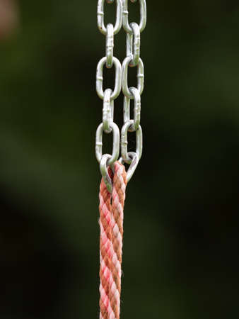 Connection of a steel chain and a solid hemp rope on a children's climbing frame.