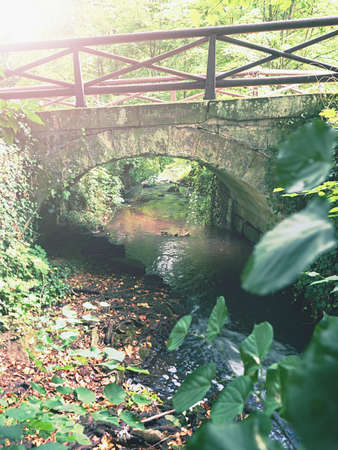 Foot path stony bridge over small stream at autumnal garden in castle park Hermanuv Mestec, Czechia ..