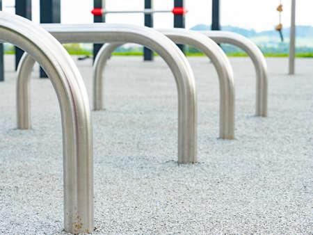 Modern playground equipment with safety details. Children's playground in the park