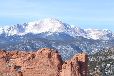 Pikes Peak overexposed picture looking at the Red Rock formations