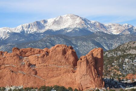 Pikes Peak, overlooking the Red Rocks Formation at Garden of the Gods