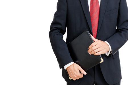 Close-up portrait de succès d'une entreprise beau debout, tenant un dossier copie, espace Banque d'images - 26450941