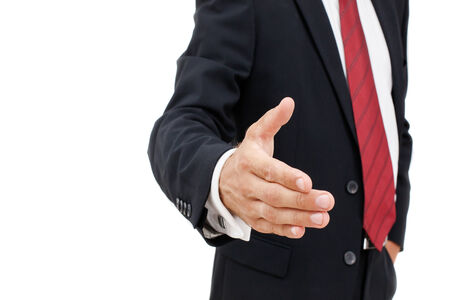 Businessman offering for handshake over white background  Copy space
