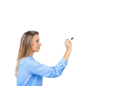 multi racial: Writing with pen  Young beautiful businesswoman with pen writing on a screen   whiteboard  Focus on the black marker - lot
