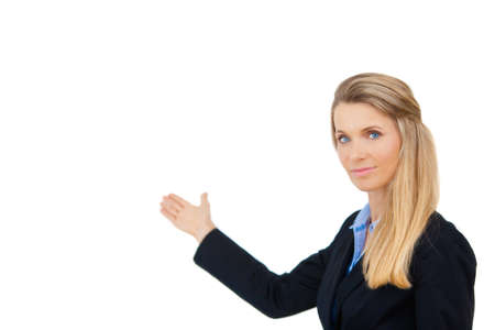 Business woman showing open hand showing blank space for advertisement  photo