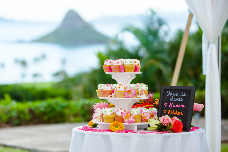 Wedding Cake and Cupcakes photo