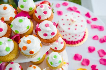 Wedding Cake and Cupcakes photo