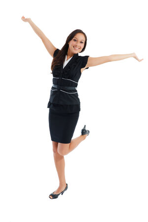 Happy caucasian businesswoman with hands raised celebrating her victory isolated on white background  photo
