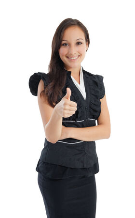 Portrait of a confident young business woman giving you a thumbs up sign isolated against white  Copy space  photo
