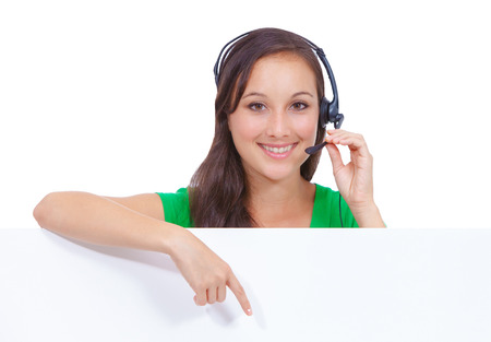 blank center: Headset customer service woman showing blank billboard sign isolated on white background  Stock Photo