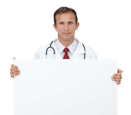 doctor holding gift: Portrait of smiling Doctor holding a blank sheet of paper on white to write your text isolated on a white background  Copy space  Stock Photo