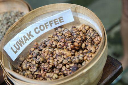 The famous coffee kopi luwak in Bali. Procedure to make the Luwak Coffee.
