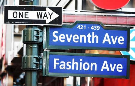 MANHATTAN, NY - November 7, 2010: Fashion street sign in New York City, USA on a sunny day.