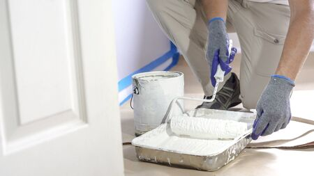 Close Up Shot of White Paint being applied on a Roller. Paint is in the Tray. Room Renovations at Home.