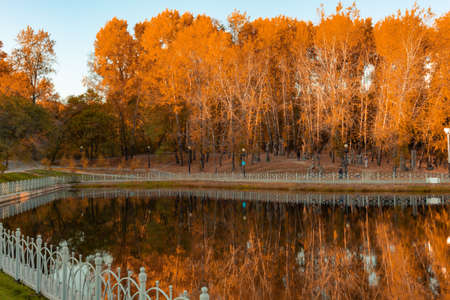City ponds in the autumn. Trees covered with yellow and orange leaves are reflected in the water. Blue sky.