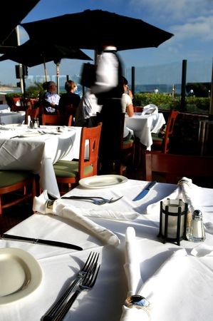 Place setting at an outdoor restaurant