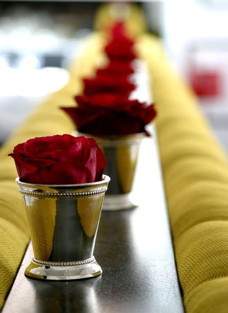Row of Red Roses Stock Photo