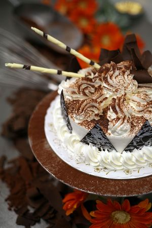 Fancy cake with white chocolate straws photo