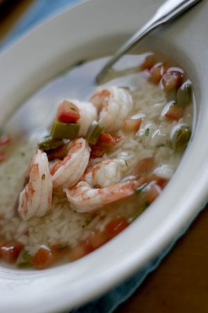 epicurean: Nopales and prawn soup with rice and ortega chili Stock Photo
