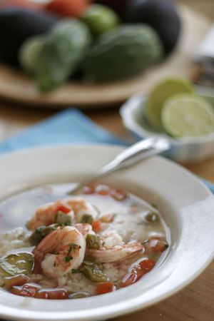 Nopales and prawn soup with rice and ortega chili, avocados and limes Stock Photo - 2307505