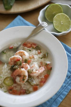 Nopales and prawn soup with rice and ortega chili, avocados and limes Stock Photo - 2307636